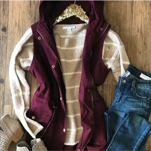 Utility jacket vest drawstring jacket